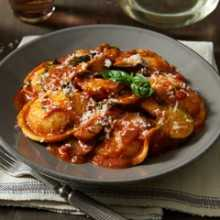 Porcini Chicken with Cheese Ravioli